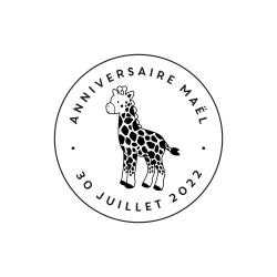 Tampon en bois personnalisé anniversaire girafe thème savane