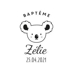 Tampon baptême personnalisé tête de koala