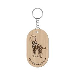 Porte-clef parrain personnalisé thème savane girafe