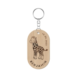 Porte-clé en bois personnalisé modèle girafe