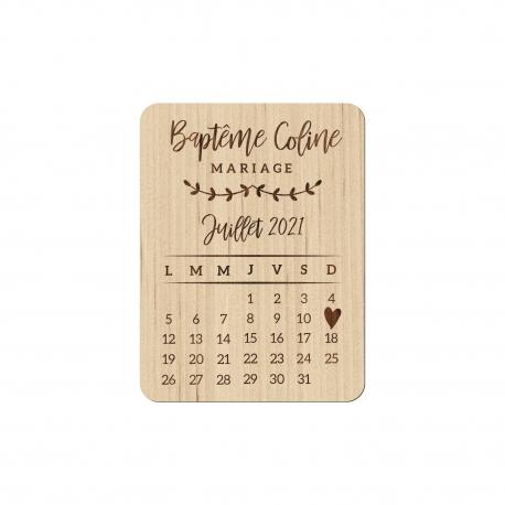 Magnet en bois calendrier save the date mariage champêtre