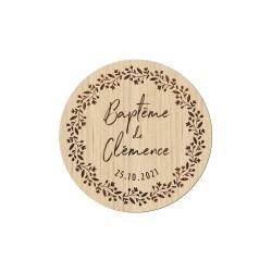 Magnet en bois couronne printanière, cadeau d'invité baptême