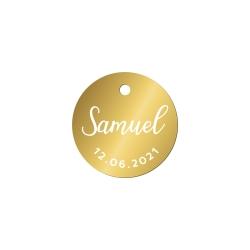 Étiquette ronde en plexiglas pour cadeau d'invité baptême