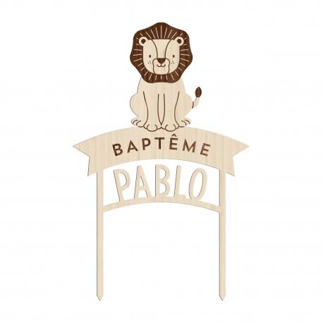 Cake topper baptême personnalisé lion thème savane