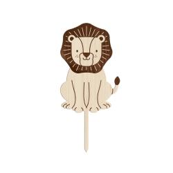 Cake topper lion en bois anniversaire savane