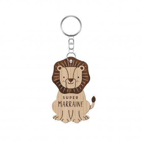 Porte-clés en bois personnalisé lion super parrain marraine