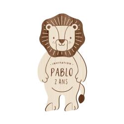 Invitation anniversaire originale en bois modèle lion