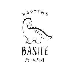 Tampon personnalisé dinosaure baptême ou anniversaire