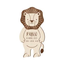 Faire-part naissance original en bois lion