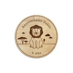 Dessous de verre en bois personnalisé anniversaire lion