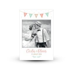 Carte de remerciement personnalisée mariage guinguette