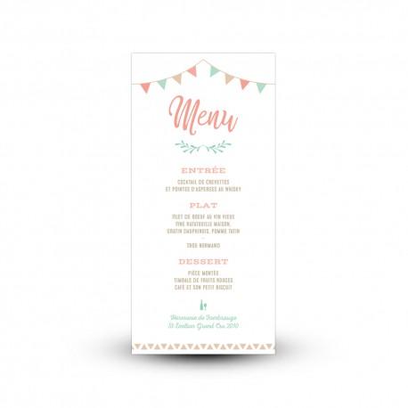 Carte de menu de mariage personnalisée guirlande de fanions
