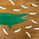 Anniversaire crocodile jungle, marque-places personnalisés