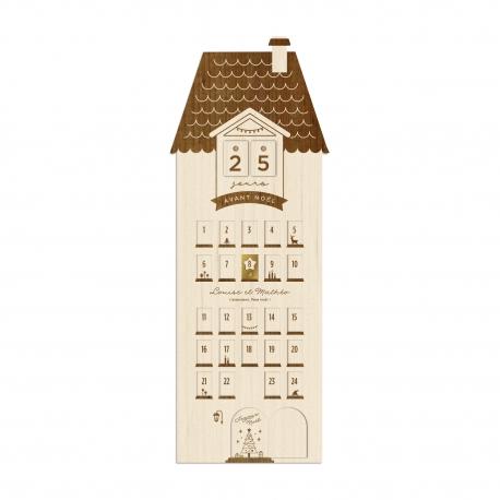 Calendrier de l'Avent personnalisé en bois, modèle maison de campagne