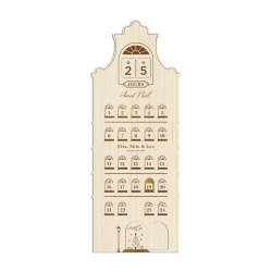 Calendrier de l'Avent en bois personnalisé avec prénoms, maison hollandaise