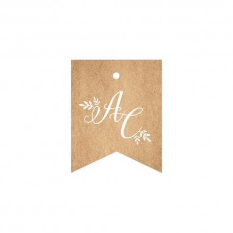 Étiquette fanion pour cadeaux d'invités, mariage kraft