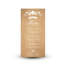 Carte de menu mariage champêtre version kraft