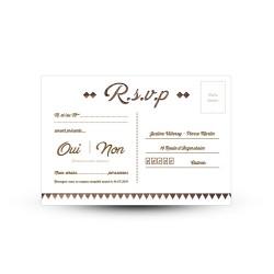 Carton réponse pour votre mariage rustique