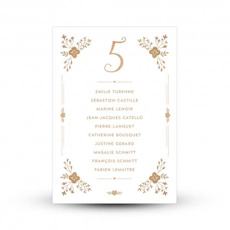 Plan de table kraft et blanc pour mariage champêtre