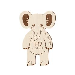 Faire-part naissance éléphant en bois, faire-part savane