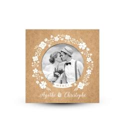 Carte de remerciement mariage champêtre kraft