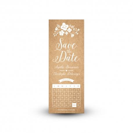 Save the date champêtre et kraft avec calendrier