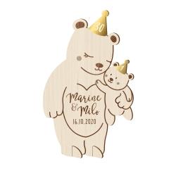 Invitation en bois anniversaire duo ourson maman et bébé