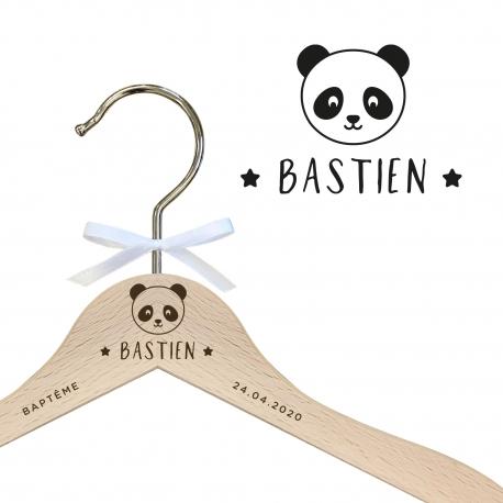 Cintre enfant en bois personnalisé panda