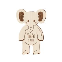 Invitation anniversaire originale en bois éléphant