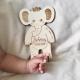 Décoration en bois éléphant personnalisée cadeau naissance