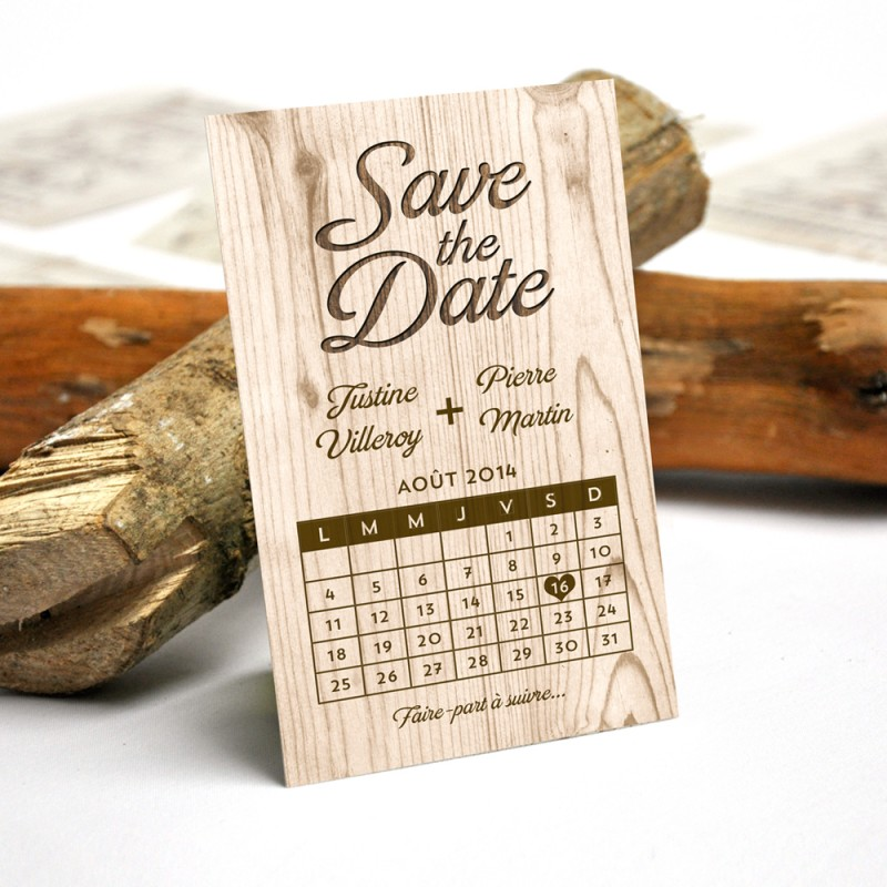 Save the Date Aimant nautique de mariage en bois Save the Date Ancre