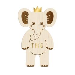 Éléphant en bois personnalisé avec prénom, décoration savane