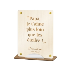 Pancarte personnalisée citation enfant, cadeau fête des pères