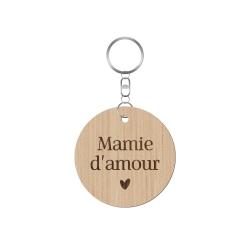 Porte-clé en bois mamie d'amour fête des grand-mères