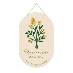 Décoration personnalisée en bois mamie en or bouquet de fleurs