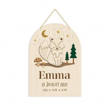 Pancarte naissance personnalisée renard, cadeau naissance original