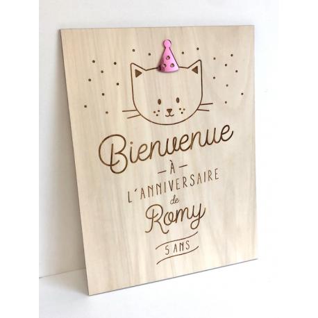 Panneau anniversaire personnalisé décoratif thème chat