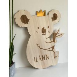 Décoration murale personnalisée en bois chambre enfant koala