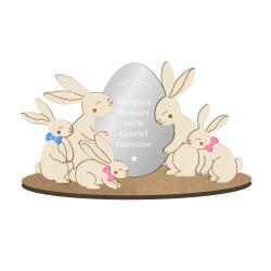 Décoration personnalisée en bois famille lapins de Pâques