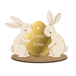 Décoration de Pâques personnalisée deux lapins