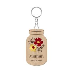 Porte-clé mason jar mille fleurs maman