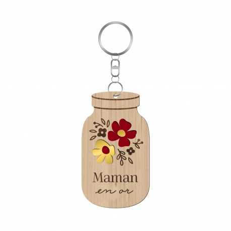 Porte-clé personnalisé mason jar, cadeau fête des mères