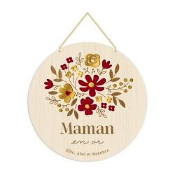 Médaille couleurs mille fleurs maman