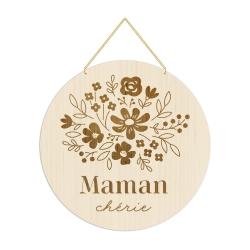 Médaille gravée mille fleurs maman