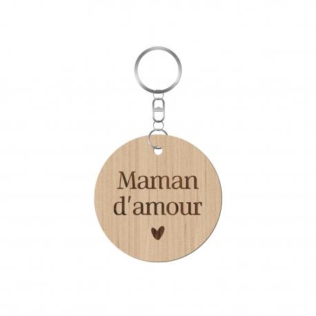 Porte-clé en bois maman d'amour, cadeau fête des mères