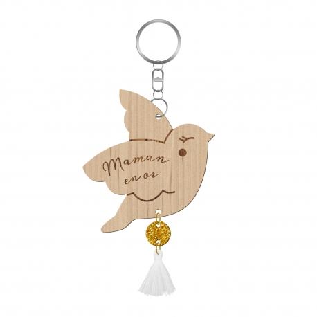 Porte-clé personnalisé en bois, Maman oiseau