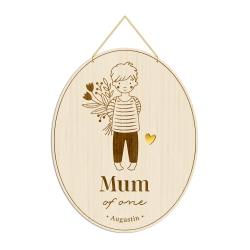 Médaille en bois personnalisée enfant, cadeau maman