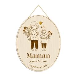 Médaille décorative en bois portrait filles, cadeau maman
