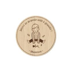 Magnet en bois personnalisé portrait enfant, cadeau maîtresse nounou