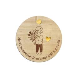 Miroir de poche en bois, personnalisé maîtresse ou nounou